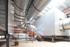 Attaching duct work to large air handlers