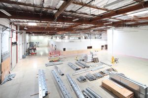 Overview of warehouse area with staged materials